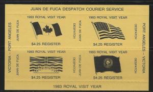 CANADA - $4.25 REGISTER - 1983 JUAN DE FUCA DESPATCH COURIER SERVICE MINI SHEET