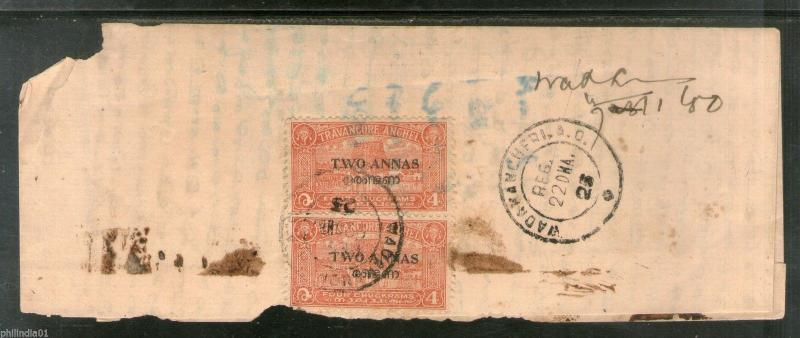 India Travancore Cochin State Surcharged Postage x2 Stamped Used Cover # 6342