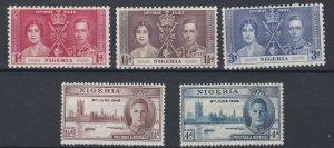 NIGERIA    1937 - 46  CORONATION & VICTORY SET   MH