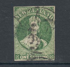 New Zealand Sc 30, SG 100, used. 1864  1sh. green QV, imperforate. Cert