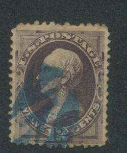 1870 US Stamp #151 12c Used F/VF Faults Blue Cancel Catalogue Value $210