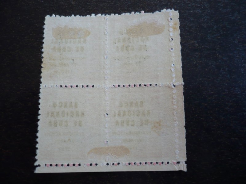 Stamps - Cuba-Scott#448 - Mint Hinged Single Stamp in Blocks of 4 - Overprinted