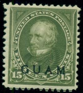 GUAM #10 15¢ olive green, og, hinged, VF, Scott $150.00