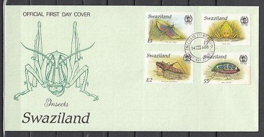 Swaziland, Scott cat. 531-534. Various Insects issue on a First day cover