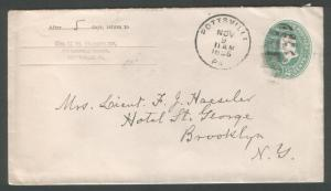 USA 1896 Pottsville Pa duplex on 2c env
