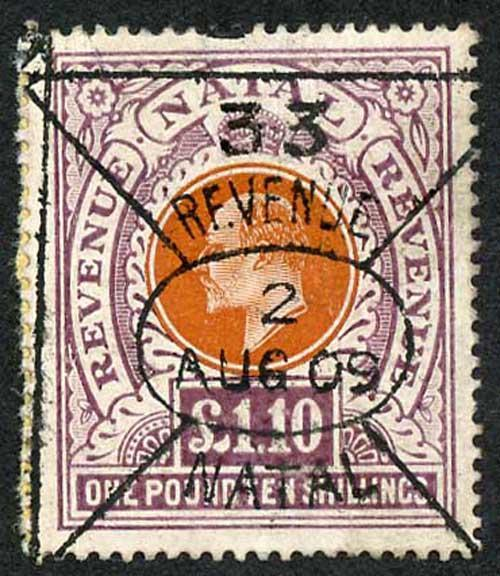 Natal SG162 KEVII One Pound 10/- Brown Fiscal Used (postal used cat 4750 pounds)