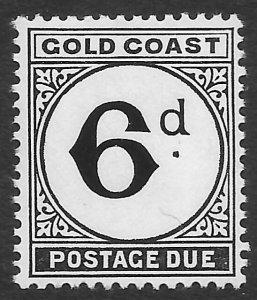 Gold Coast 6d black Postage Due issue of 1952, Scott J7 MNH