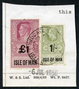 Isle of Man KGVI One Pound + 1/- Key Plate Type Revenues CDS on Piece