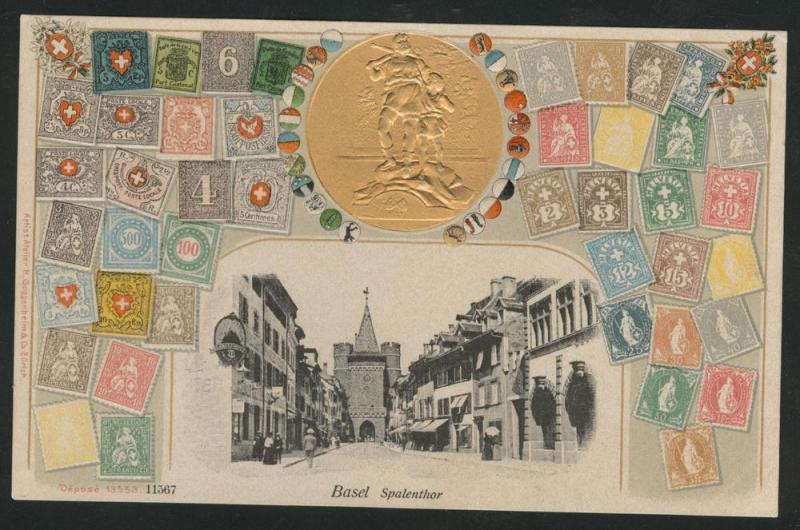 Guggenheim STAMP POST CARD ~ Basel View Embossed