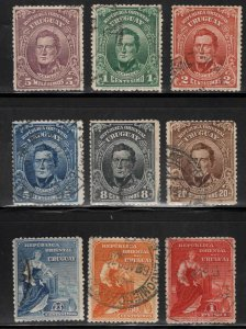 Uruguay Scott 187-195 Used 1910 set