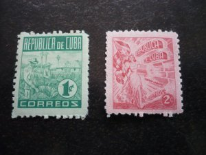 Stamps - Cuba - Scott# 445-446 - Mint Hinged Partial Set of 2 Stamps