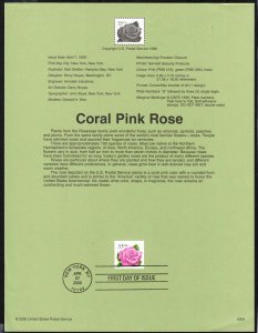 2000 SP1190 souvenir page Coral Pink Rose USPS issue