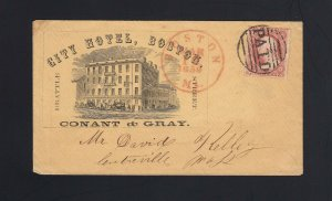 MASSACHUSETTS: Boston, MA 1857 #25 CITY HOTEL Advertising