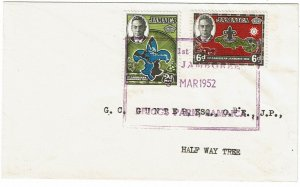 Jamaica 1952 1st Caribbean Boy Scout Jamboree cancel on cover