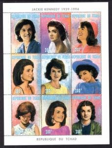 Chad #694 ms/sheet of 9, F-VF Mint NH ** Jacqueline Kennedy Onassis