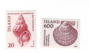 Iceland Sc552-3 1982 animal shell stamp mint