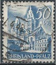 Germany 6N11 (used) 50pf Mainz Cathedral, blue (1948)
