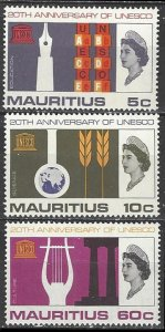 Mauritius Sc#299-301 UNESCO 20th Anniversary (1966) MNH