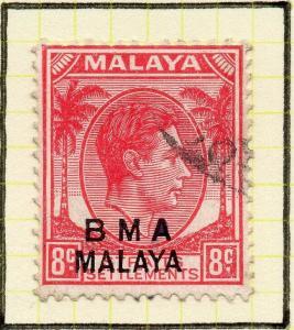 Malaya Straights Settlements 1945 Early Shade of Used 8c. BMA Optd 307994