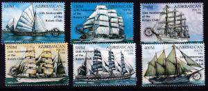 Azerbaijan 1997 Sailing Ships Complete (6) with Rotary Internat Overprint  VF/NH