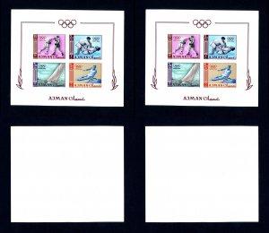 2 Ajman # 36b 1964 Olympics Imperforate NH Souvenir Sheets
