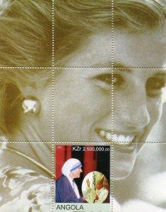 Angola 2000 MOTHER TERESA POPE JOHN PAUL II DIANA s/s Perforated Mint (NH)
