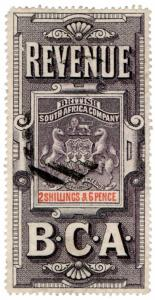 (I.B) Rhodesia/BSAC Revenue : Duty 2/6d