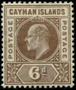 Cayman Islands SC# 6 SG# 6 Edward VII 6d MH wmk 2