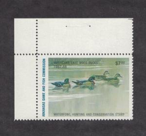 AR7h - Arkansas State Duck Stamp. Hunter Type Corner Margin Single. MNH. OG.