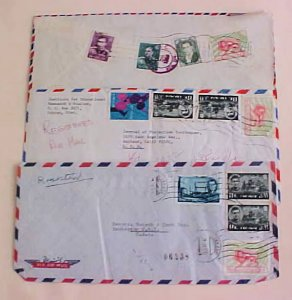 IRAN  SHAH 3 REGISTERED LONG COVERS 1970's TO USA