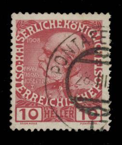 AUTRICHE / AUSTRIA Mi.144v used PONTAFEL-WIEN / 17 TRAIN POST OFFICE postmark