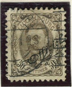 LUXEMBOURG; 1908 early Duke William OFFICIAL Optd issue fine used 50c.