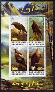 Burundi 2009 Eagles perf sheetlet containing 4 values unm...
