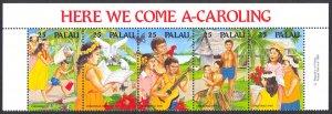 Palau Sc# 253a MNH Strip/5 1990 Christmas