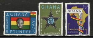 Ghana 1960 Scott# 86-88 MNH