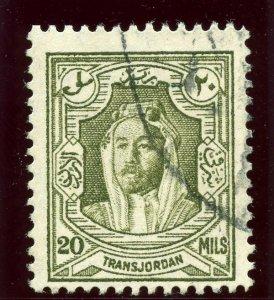 Transjordan 1939 20m olive-green (p13½x13) very fine used. SG 201a. Sc 178a.