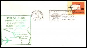 UN New York to Cameroon Pan Am 1965 First Jet Flight Cover