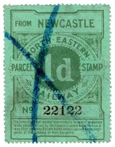 (I.B) North Eastern Railway : Parcel Stamp 1d (Newcastle)