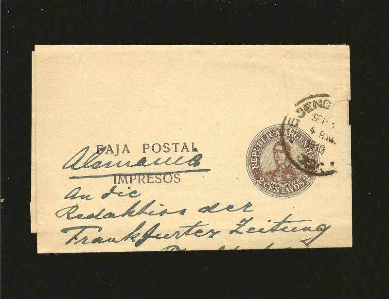 Argentina Postmarked 1910 2 Centavos San Martin Newspaper Wrapper