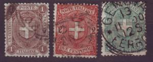J16931 JLstamps 1896-7 italy set used #73-5 arms of savoy