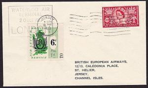 GB 1953 BEA 6d Plus 1d airmail stamp on flown cover London to Jersey........8999