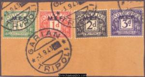 1942 British Occupied Middle East Forces ½d-3d Postage Dues, on piece, SG MD1-4
