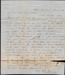 1847 STAMPLESS FOLDED LETTER W. MERIDEN, CT 43x3 SL CANCEL & BLACK PAID 5 BQ6621