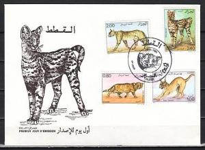 Algeria, Scott cat. 801-804. Wild Cats issue. First day cover.