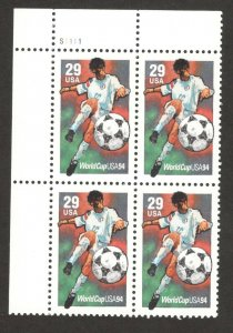 2834 World Cup Soccer 1994 Plate Block Mint/nh FREE SHIPPING