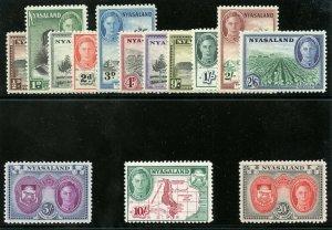 Nyasaland 1945 KGVI set complete superb MNH. SG 144-157. Sc 68-81.