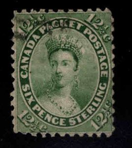 Canada Scott 18 Used 1859 yellow green Victoria stamp  perf 11 3/4