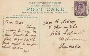 Malaya Straits Settlements KE VII 3c postcard Singapore to Australia SG#268