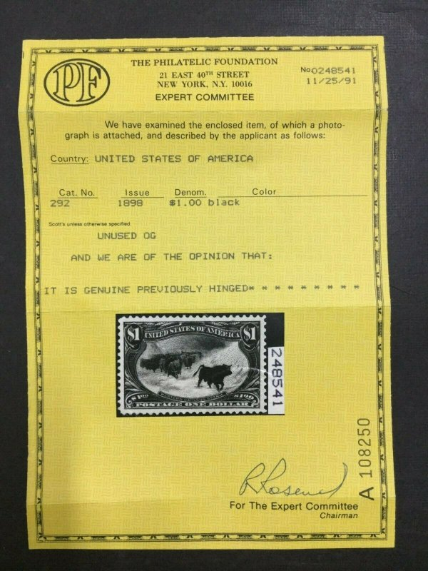 MOMEN: US STAMPS #292 MINT OG LH SUPERB GEM PF & PSE CERTS