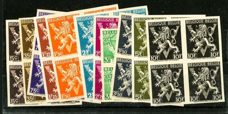 Belgium Stamps VF OG Legion Imperforate Blocks of 4